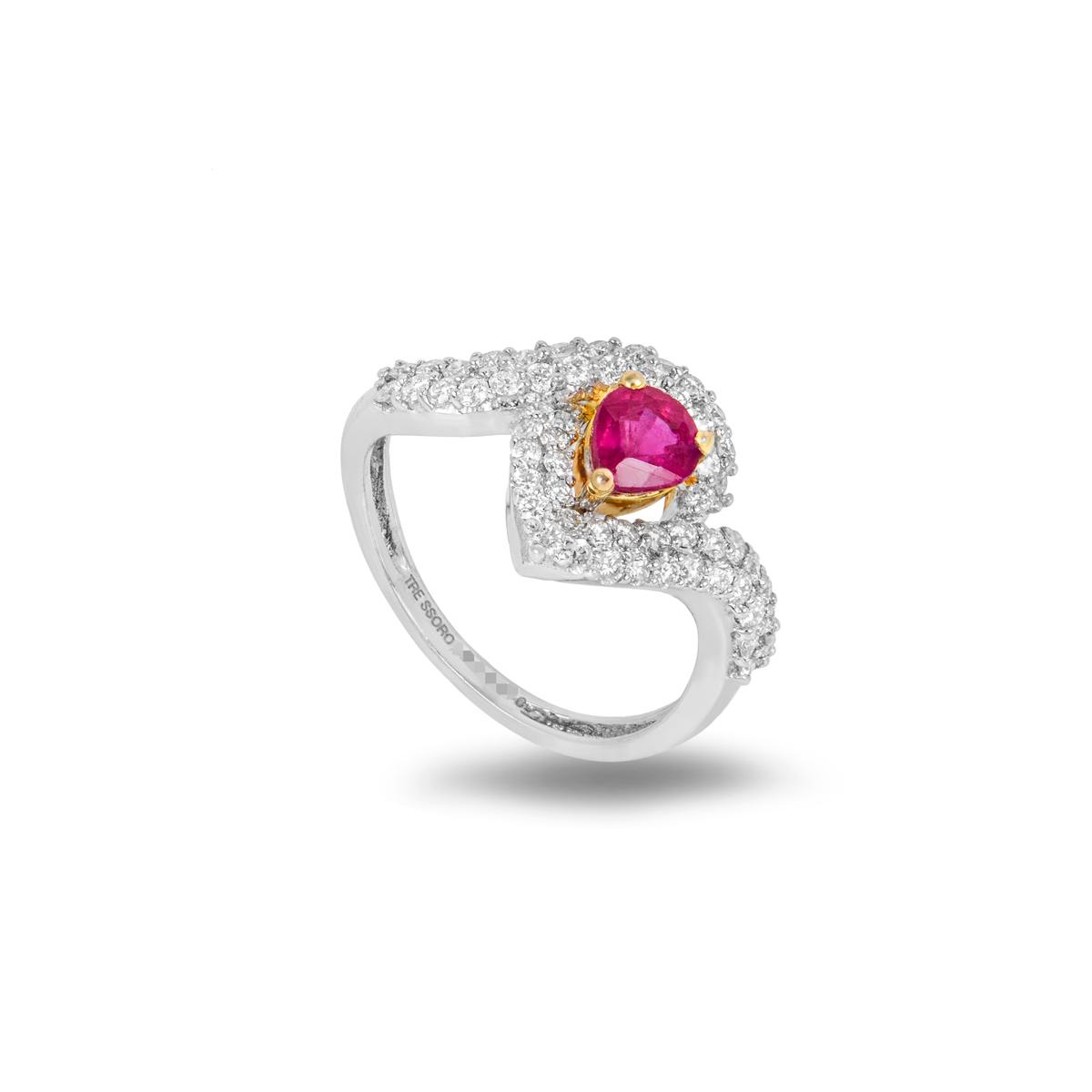 18k White Gold Diamond and Ruby Dress Ring 0.66ct H/VS2